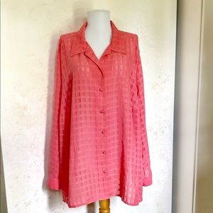 Maggie Barnes 26W Salmon Sheer Windowpane Blouse